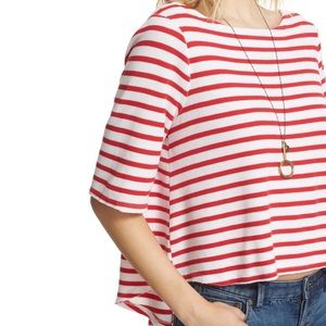 Free People Cannes Tee Red & White Stripes Size M